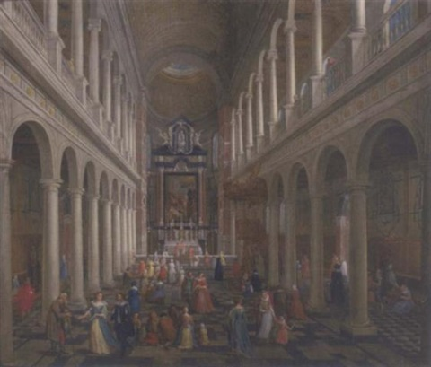 the interior of st charles borromeo antwerp with elegant company by wilhelm schubert van ehrenberg