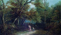 mother with children on a woodland path by j. mellor