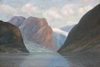 norwegian fiord scene by conrad hans selmyhr
