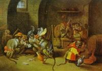 eine singerie: affen beim kartenspiel, trinkend und rauchend in einer wachstube by abraham teniers