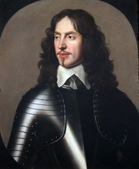 portrait of william, 1st baron and earl of craven (1608-1697) half-length, wearing armour by gerrit van honthorst