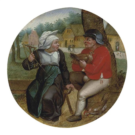 a peasant holding a hen and a peasant woman holding a spindle by pieter brueghel the younger