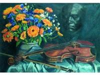 allégorie à beethoven (composition au violon. masque et bouquet de fleurs) by france leplat
