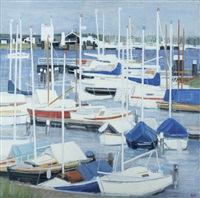 yachts au mouillage, hollande by ginette rapp