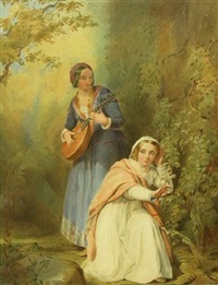 the courting couple (+ the mandolin player; pair) by john absolon