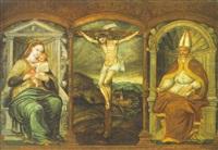 christus am kreuz, im hintergrund eine altniederländische landschaft by pedro campana