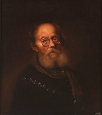 an old man wearing spectacles. an allegorical representation of the sight by karel van mander iii