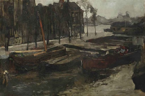 the kalkmarkt in winter amsterdam by george hendrik breitner