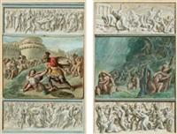 duello tra ettore e achille sotto le mura di troia (+ il diluvio universale; 2 works) by luigi ademollo