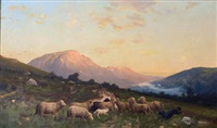 sheep in mountainous landscape by robert kluth
