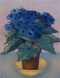 still life with blue gerberas in earthenware pot by vilmos huszar