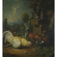 roosters and cats by jacob samuel beck