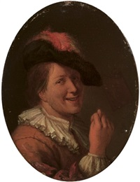 a man in a plumed hat making an obscene gesture by ary de vois