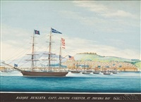 "barque ""juniata"", capt., joseph cheever, at smyrna bay 1852 by raffaele corsini"