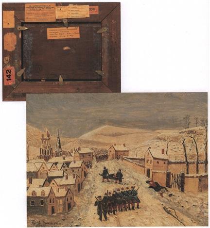 paysage dhiver avec scène de guerre by henri rousseau