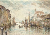 barges on a dutch canal by charles frederick allbon