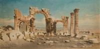 vue d'un arc de triomphe à palmyre by carl haag