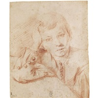 portrait of a young boy resting his head on his right hand by flaminio torre