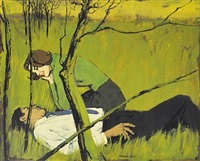 couple lounging in the grass, she wearing green sweater (illus. for mccall's magazine) by morgan kane