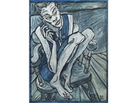 girl in blue dress, kyra by billy childish
