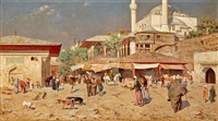 a busy street outside of a mosque by odoardo toscani