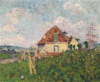 paysage à rouen (la maison et le trois-mâts) by louis valtat