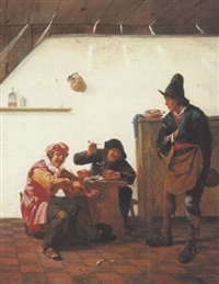 revelers drinking and making music in a tavern by johannes natus
