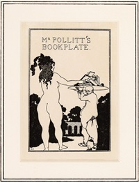 mr. pollitt's bookplate by aubrey vincent beardsley