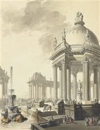 an architectural capriccio: a fountain flanked by temples and a colonnade by firmin perlin