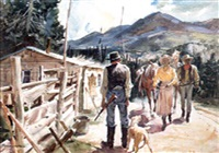 couple with horses approaching hunter and dog by warren w. baumgartner