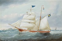 the swedish brigantine wasa of figeholm passing the south stack lighthouse on her way to liverpool by william howard yorke