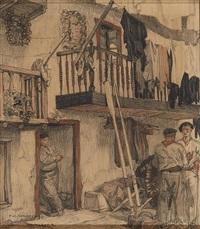conversation sous le balcon à fontarabie by francois maurice roganeau