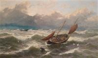 fischer an stürmischer küste by thomas rose miles