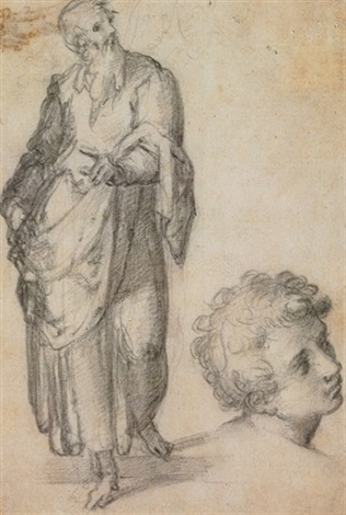 a standing bearded man with a subsibiary of a head of a youth study a fragmentary sketch of figures verso by giovanni battista di matteo naldini