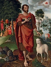 saint john the baptist with the baptism and predication by jan swart van groningen