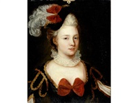 portrait of a lady, bust-length, in a black dress with gold piping and a plumed hat by jacques-françois courtin