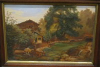 bavarian scene with hillside cabin and figures by paulus roetter