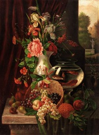 still life of fruit, flowers and gold fish (+ still life of fruit and flowers; pair) by g. tomassi