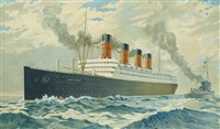 """r.m.s. aquitania"" by fred pansing"