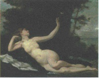 a female nude reclining in a landscape by ernst friederich von liphart
