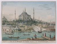 vue de la mosquée de sainte sophie, à constantinople by jean-baptiste hilaire