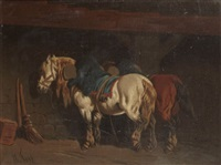 deux chevaux à l'ecurie by théodore fort