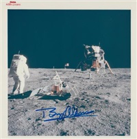 armstrong photographs aldrin with lunar experiments by neil armstrong