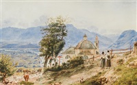 kalvarienberg in bozen, rechts blick gegen meran, im hintergrund burg sigmundskron by jacob alt