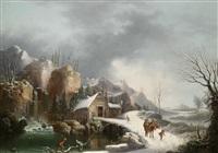 winterlandschaft mit reisenden bei einem flusslauf und einem wasserfall by francesco fidanza