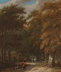 waldlandschaft mit einem wanderer und einem reiter auf einem schimmel by roelof van vries