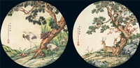 crane and deer (2 works) by bai zongwei