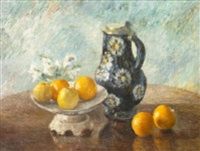 still life with oranges and jug by marshall c. hutson