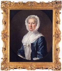 portrait of catherine fleming, lady leicester, wearing a blue dress and white bonnet and shawl by james cranke