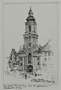 kirchen, häuser und landschaftsmotive (7 works) by franz glaubacker
